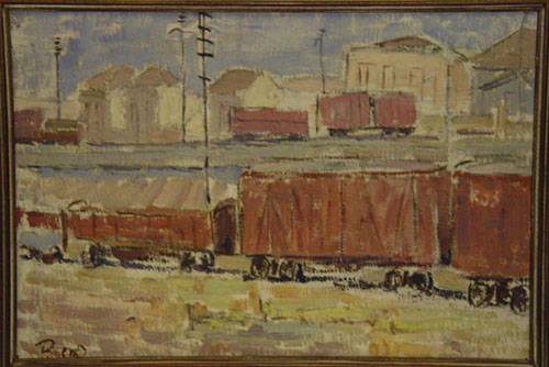 Mário Bueno - FERROVIA 1 - Óleo sobre duratex, 37x54 cm - 1954